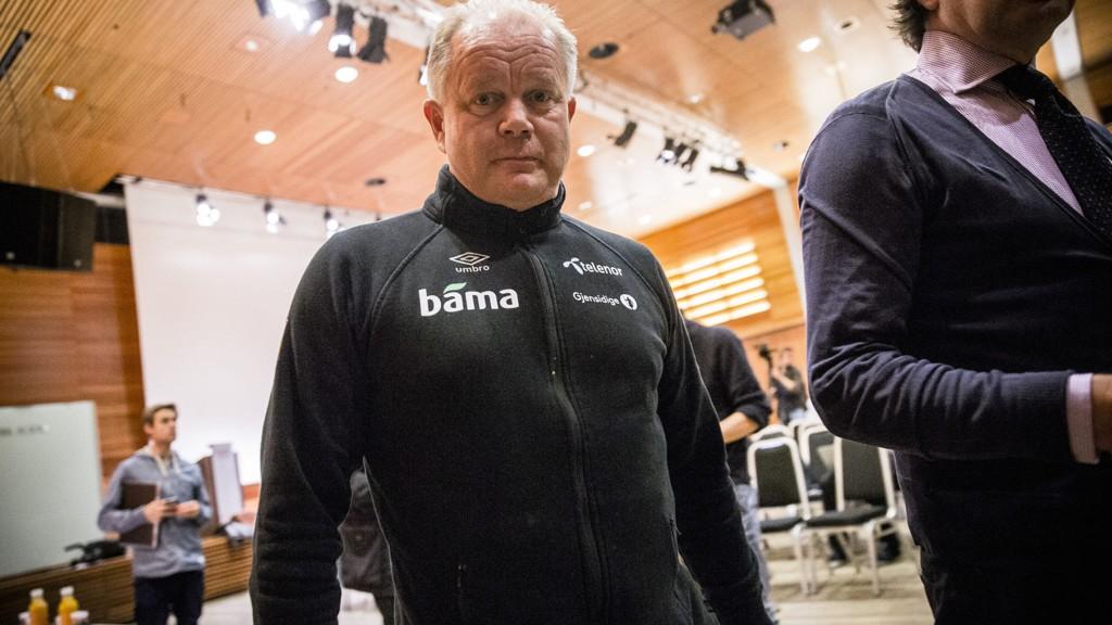 Landslagssjef Per Mathias Høgmo under pressetreffet med landslaget i fotball tirsdag.