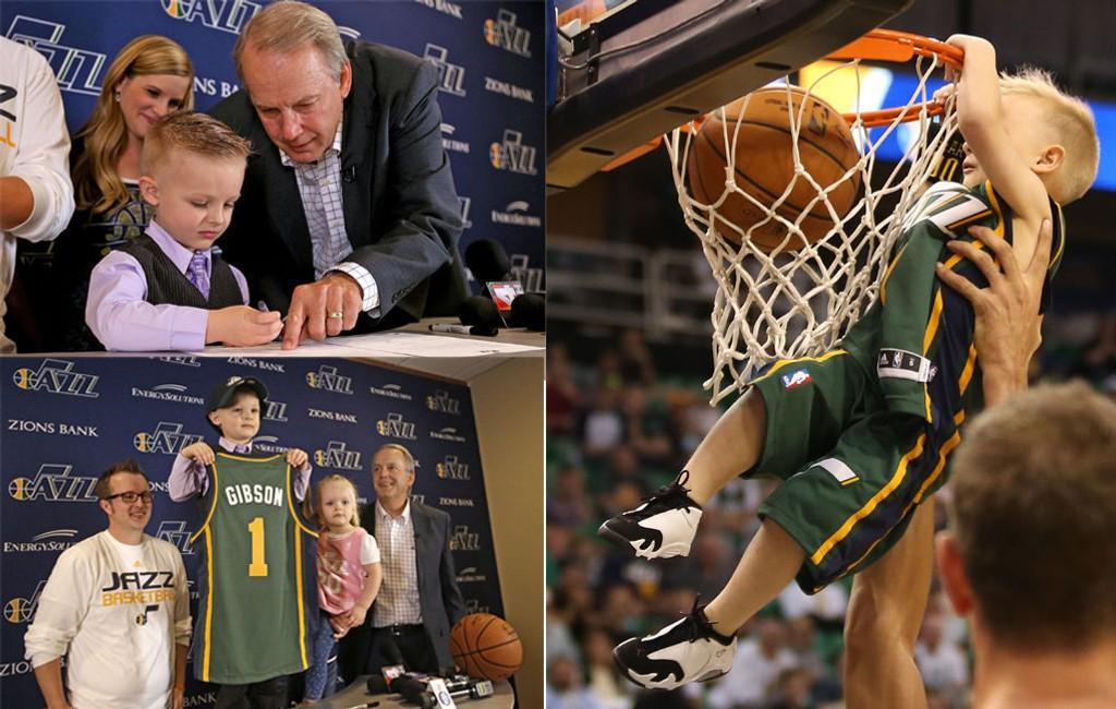 DRØMMEDAG: Fem år gamle J.P. Gibson fikk være Utah Jazz-spiller for en dag.