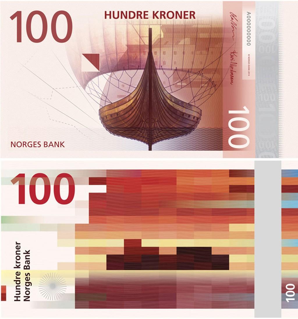 Norges Bank har bestemt seg for å ta utgangspunkt i to ulike motiver til sin nye serie med pengesedler. Forsiden (øverst) er utarbeidet av The Metric System og Terje Tønnessen. Baksiden er det Snøhetta Design som står bak.