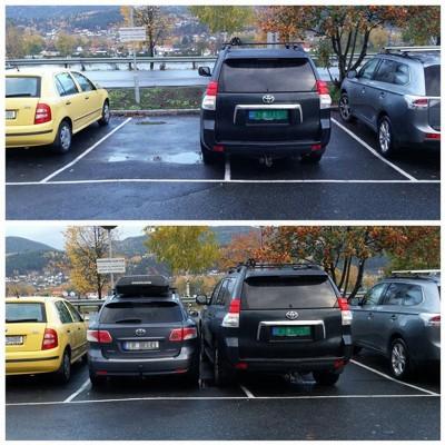 TRANGT: Slik så det ut før og etter Bjørnar Boldvik hadde parkert utenfor arbeidsplassen fredag morgen.
