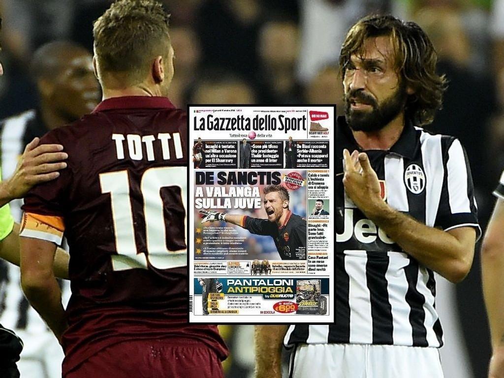 MER BENSIN: Det har vært mye støy etter toppkampen mellom Juventus og Roma. Nå heller Roma-keeper Morgan De Sanctis mer bensin på bålet.