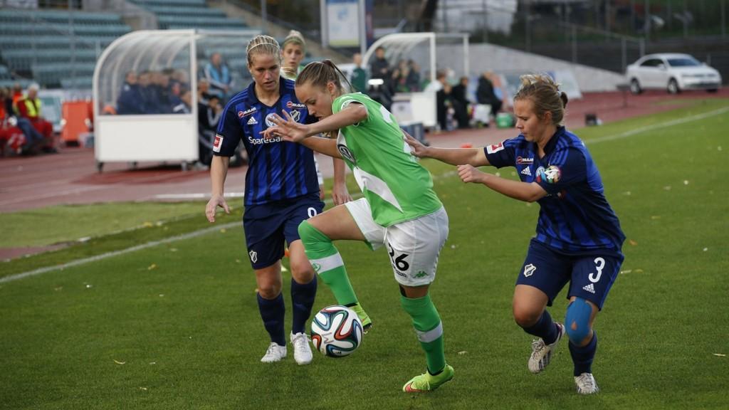 Stabæk er utslått av mesterligaen i fotball for kvinner etter 1-3-tap sammenlagt for Wolfsburg. Tyskerne vant 2-1 torsdag etter 1-0-seier borte. Caroline Graham Hansen scoret begge målene for Wolfsburg.