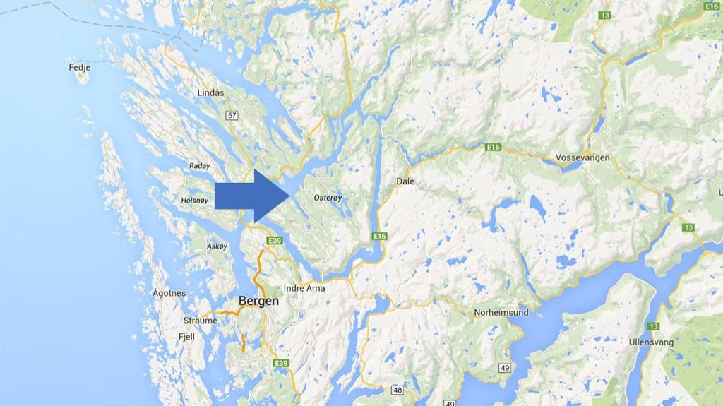 FALT PÅ FJELLTUR: Her på Osterøy skjedde ulykken.