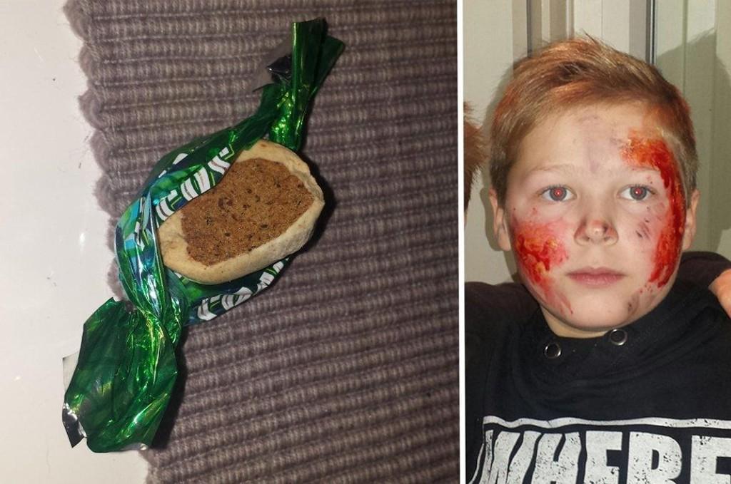 HUNDEMAT: Noen av de som delte ut godterier i Hamna på fredag hadde byttet ut sjokoladebitene med hundemat.