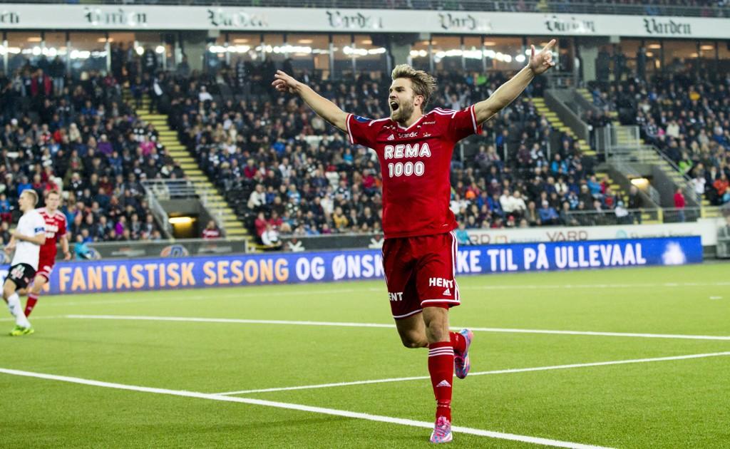 MATCHVINNER: Jørgen Skjelvik scoret kampens eneste mål da Odd og Rosenborg møttes på søndag. Etterpå unnskyldte han lagets feiring av seieren.