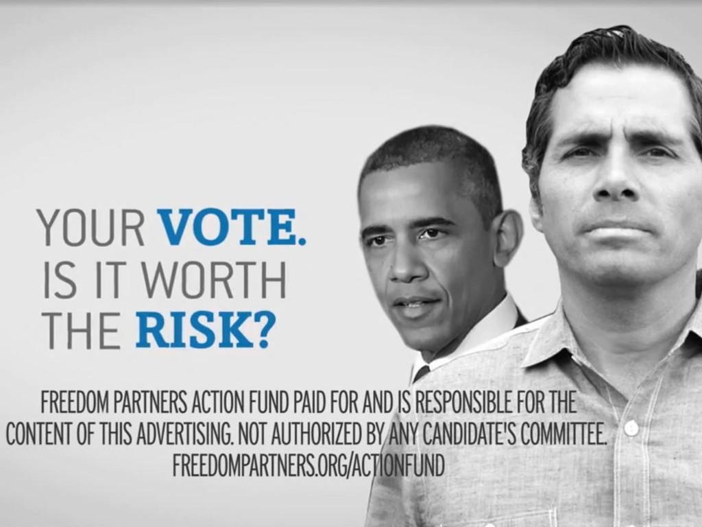 Stillbildet fra en TV-reklame som har til hensikt å sverte den uavhengige senatorkandidaten i Kansas Greg Orman og president Barack Obama. TV-reklamen er kjøpt og betalt av såkalte Super Pac-er.