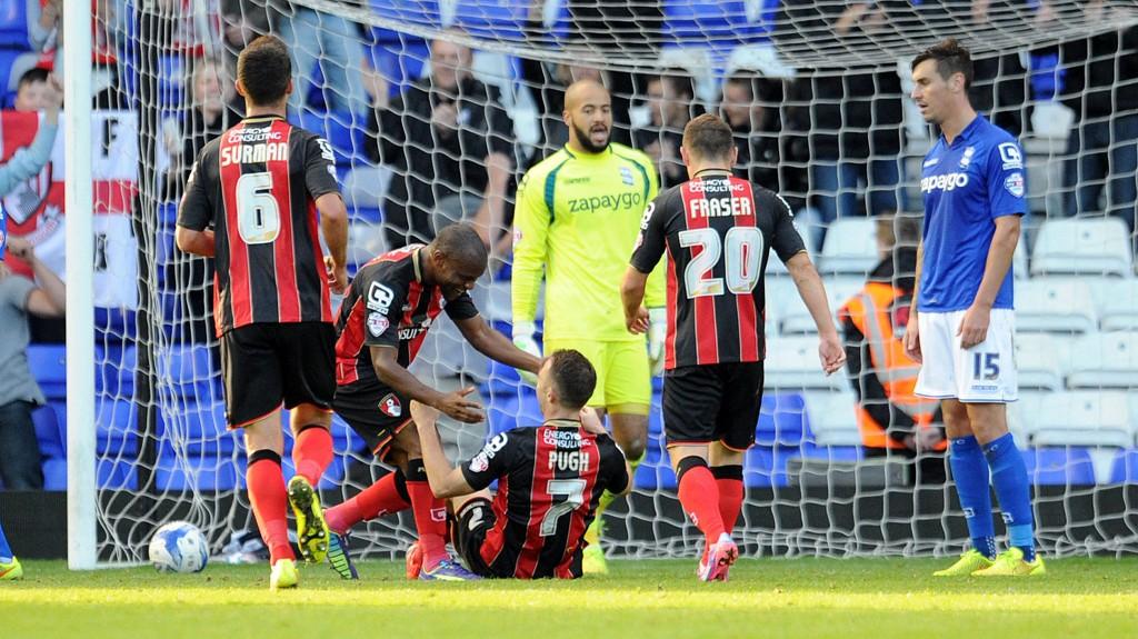 Marc Pugh scoret tre mål i Bournemouths 8-0-seier over Birmingham 25. oktober.