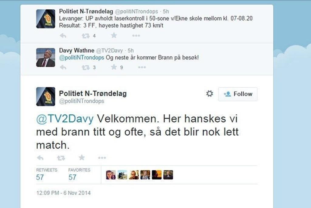 Diskusjonen mellom politiet i Nord-Trøndelag og Davy Wathne fikk trolig mange til å trekke på smilebåndet. 57 personer har markert det friske svaret fra politiet med et favoritt-merke.