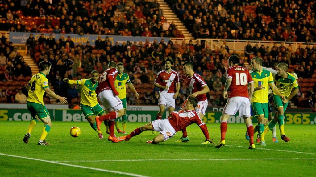 Fra kampen mellom Middlesbrough og Norwich sist tirsdag.