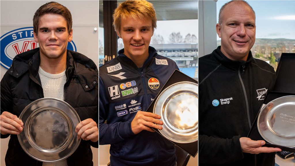 PRISVINNERNE: Vidar Örn Kjartansson (årets spiller), Martin Ødegaard (Årets unge spiller) og Dag-Eilev Fagermo (årets trener) mottar alle Nettavisen-prisen for fremragende prestasjoner i 2014-sesongen.