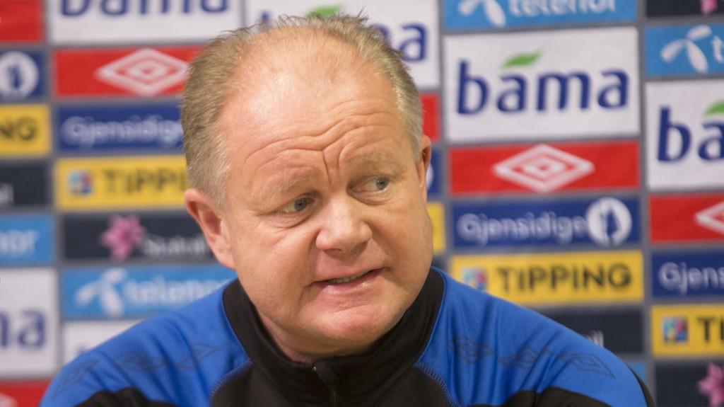 Landslagstrener Per-Mathias Høgmo på fotballlandslagets pressekonferanse i Sandvika torsdag.