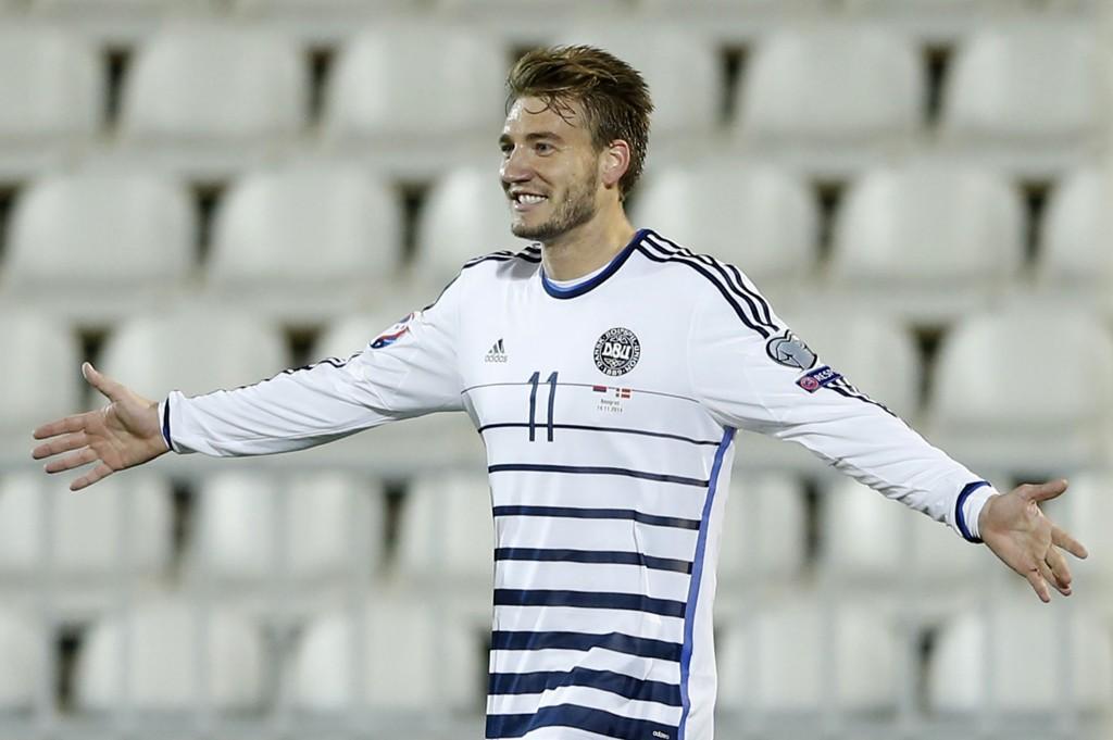 SCORET TO: Danmark-spiss Nicklas Bendtner.