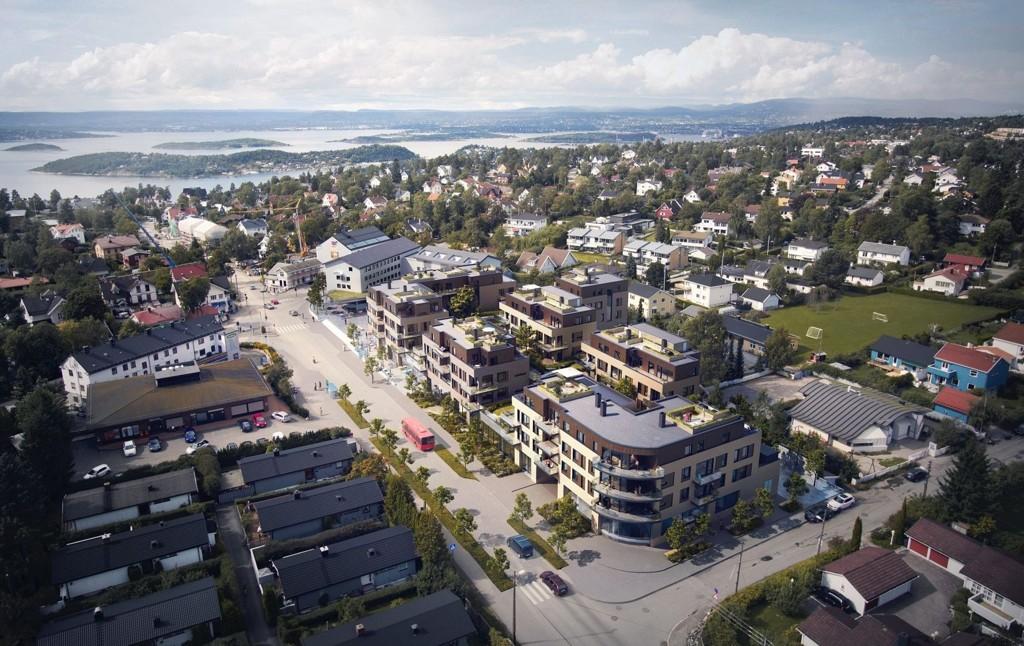 FRA OVEN: Fugleperspektiv av Sæter Torg med boligprosjektet Sæter Hage på taket. Ferdigstillelse er satt om to år.
