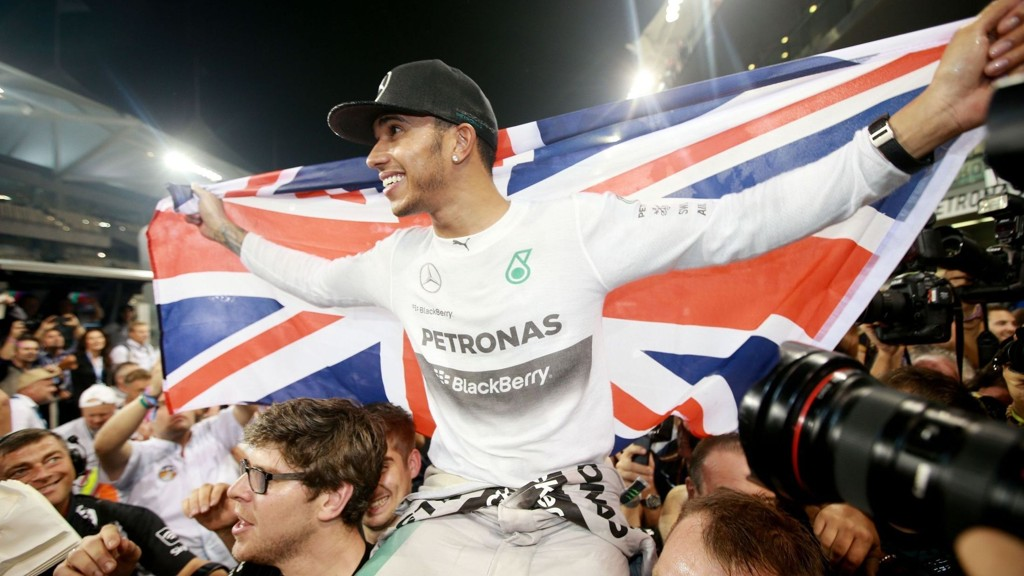 Mercedes Lewis Hamilton celebrates becoming World Champion after victory in the 2014 Abu Dhabi Grand Prix at the Yas Marina Circuit, Abu Dhabi, United Arab Emirates.