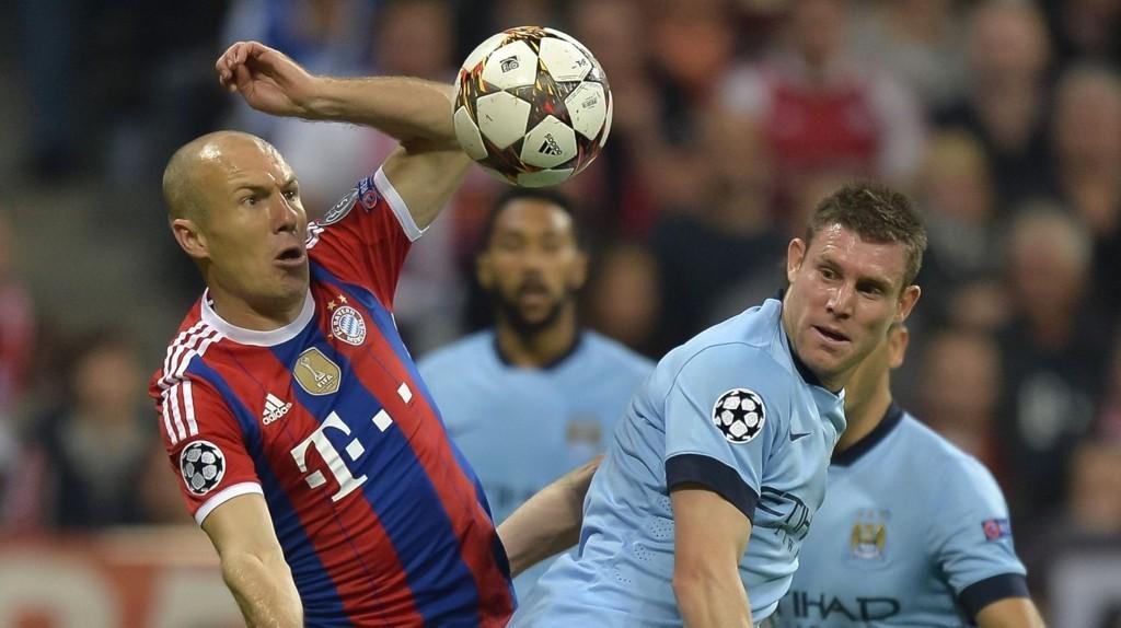 James Milner (til høyre) kommer til å få en stri tørn med å temme Bayern Münchens superstjerne Arjen Robben i kveldens storkamp.