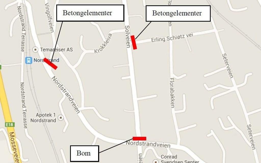 FORSLAGET: Bymiljøetaten foreslår å stenge Solveien med bom mot Nordstrandveien, og betongelementer mot Erling Schiøtz vei. Det foreslås også stenging mellom Nordstrandveien og Vingolfveien.
