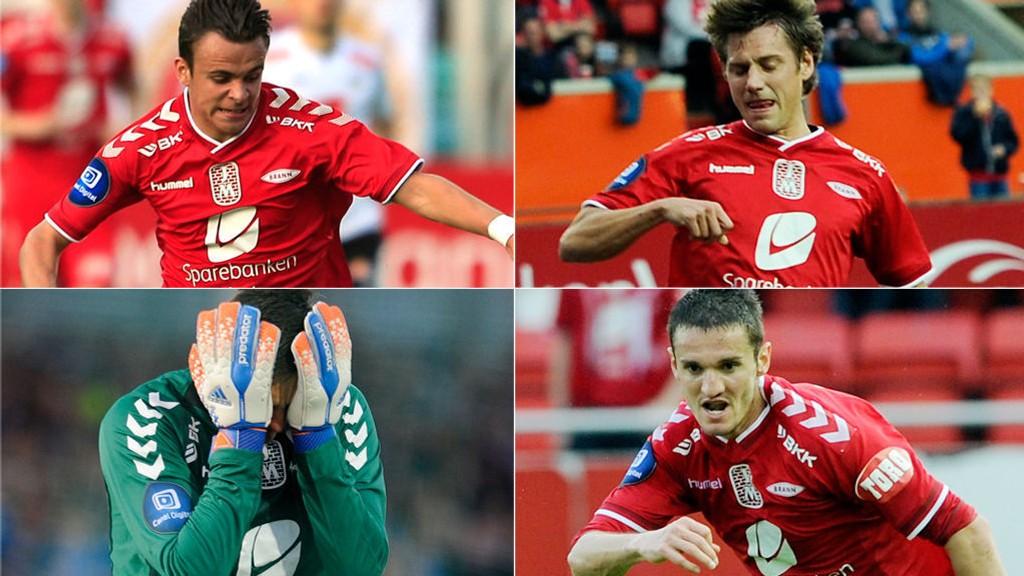 SKADET: Andreas Vindheim, Jakob Orlov, Daniel Mojsov og Piotr Leciejewski sliter med skadeproblemer før onsdagens skjebnekamp.