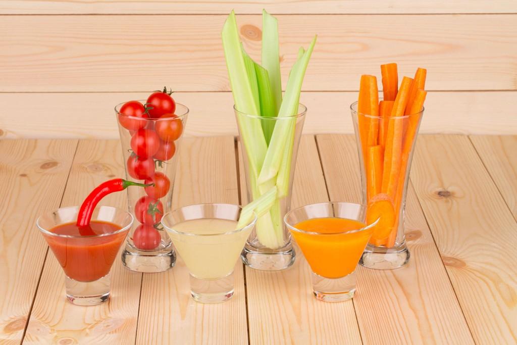 Close up of fresh vegetable juice mix.