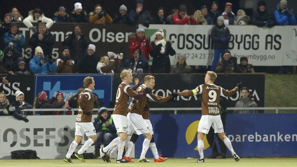 Mjøndalen-spillerne kunne juble for opprykk onsdag kveld.