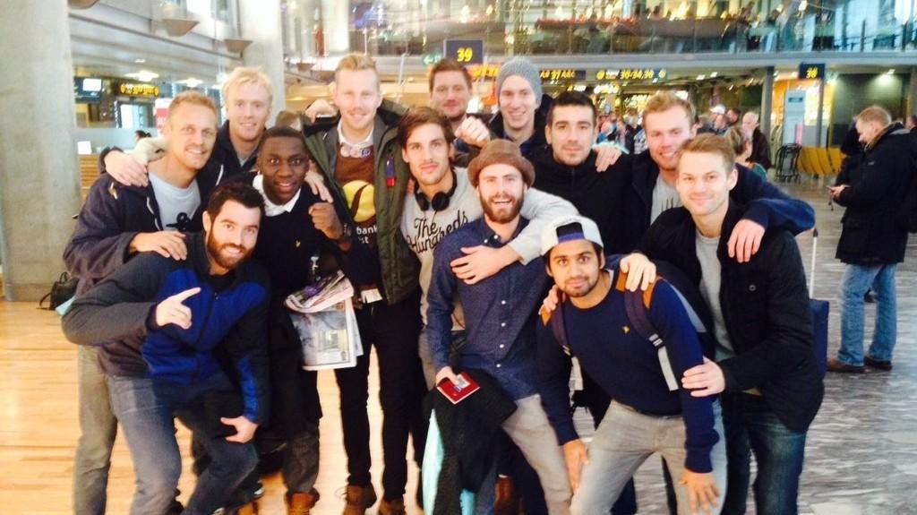 GUTTA PÅ TUR: Mjøndalen-spillerne reiste til Amsterdam dagen etter at opprykket ble sikret.