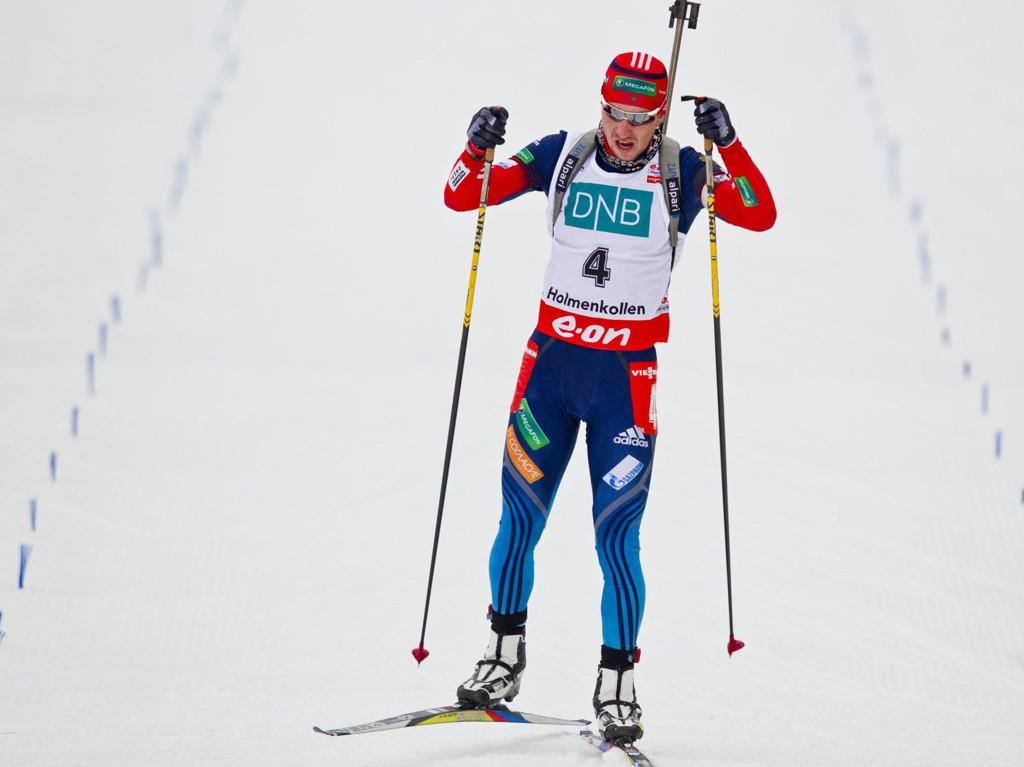 DOPET? Alexander Loginov er suspendert fra konkurranser, ett år etter å ha avlagt en positiv dopingprøve. Her fra Holmekollen i mars, der han ble nummer to på jaktstarten. Foto: Vegard Grøtt / NTB scanpix