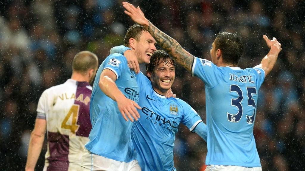 Edin Dzeko (til venstre) og Stevan Jovetic er usikre til Manchester Citys hjemmekamp mot Leicester lørdag.