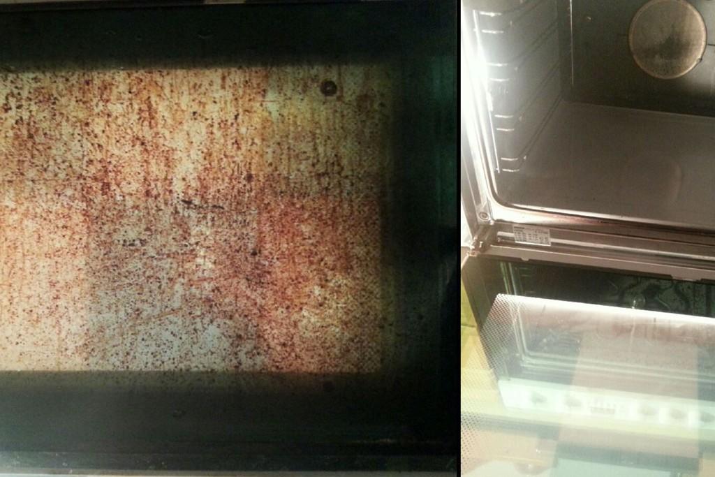 FØR OG ETTER: Line trengte ikke engang å varme opp ovnen for å bruke trikset. Kaldt springvann og bakepulver holdt for å få det helt reint.
