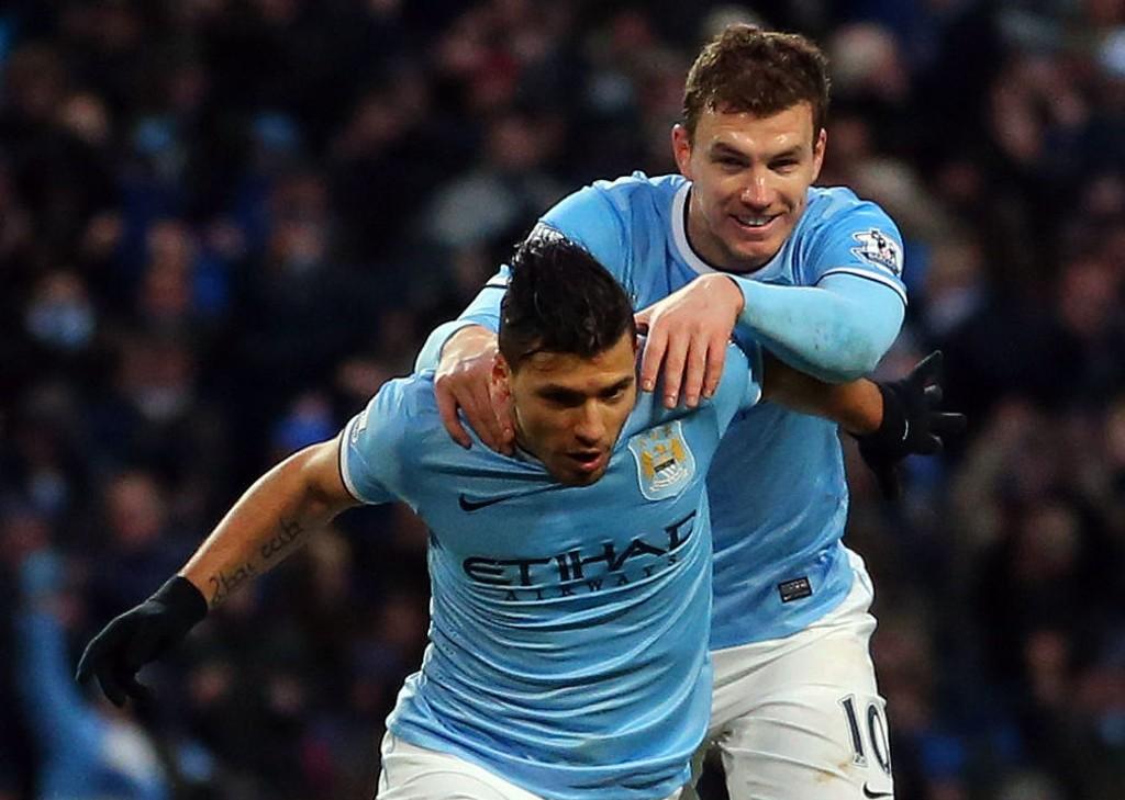 IKKE KLARE: Verken Sergio Agüero eller Edin Dzeko er klare for spill i nærmeste framtid. Heller ikke spisskollega Stevan Jovetic rekker lørdagens kamp mot Crystal Palace.