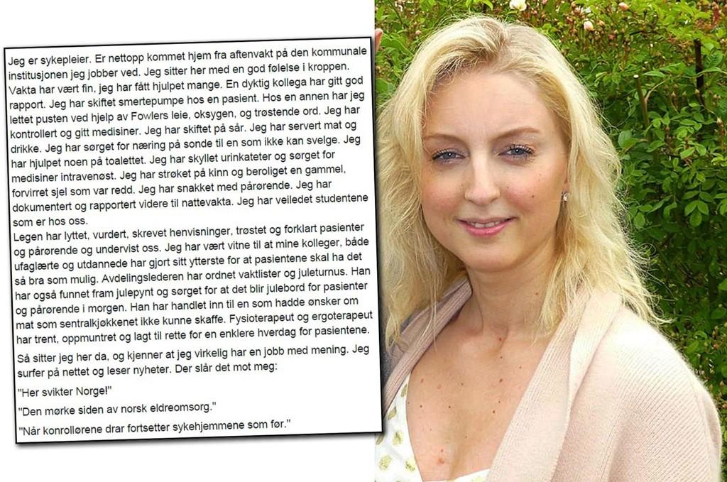 SYKEPLEIER: Janne Nordang Nymo skrev på Facebook om de mange positive sidene i helse-Norge.