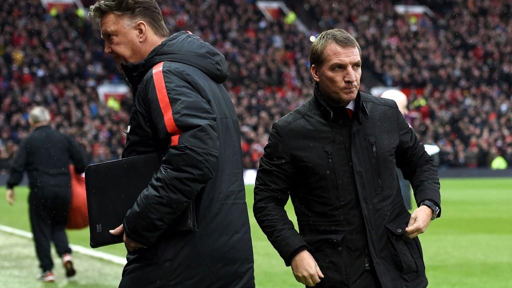 Liverpool-manager Brendan Rodgers og Manchester United-manager Louis van Gaal kan finne frem sjekkheftet.