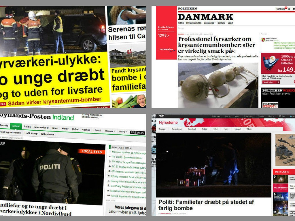 DANSKE MEDIER: Dødsulykkene med fyrverkeri skaper naturlig nok overskrifter i danske medier. Tre menn, blant dem en 37 år gammel familiefar, mistet livet.