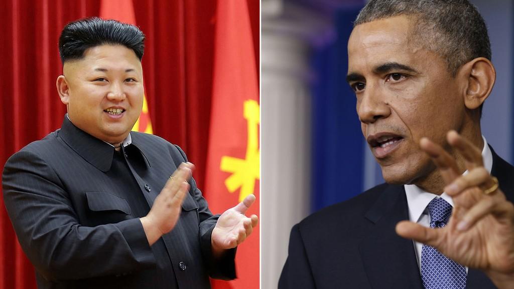 Barack Obama beordrer nye sanksjoner mot Nord Korea, her representert ved landets diktator Kim Jong-un. Montasje.