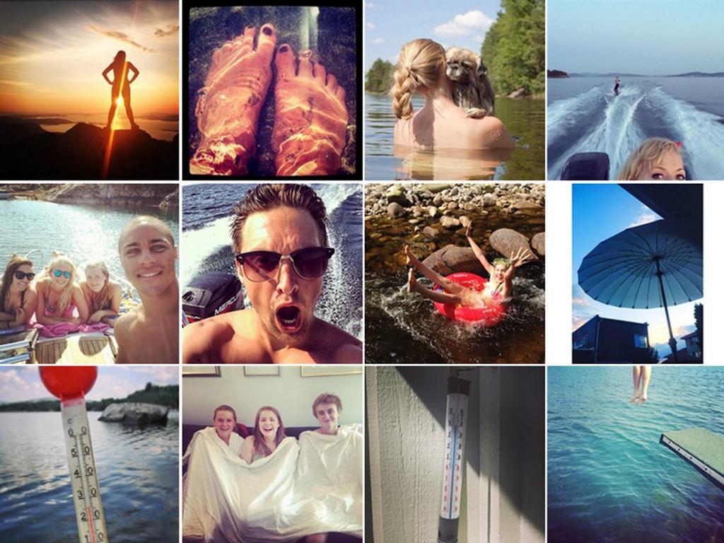 HETEBØLGEN: Husker du hetebølgen sommeren 2014? Bildene er hentet fra Twitter og Instagram torsdag 25. juli i fjor.