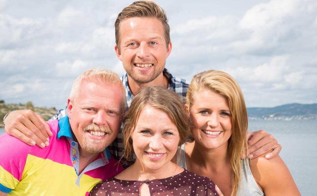 TENTE IKKE ALLE SEERNE: Gunhild Dahlberg og hoveddeltagerne, Kevin Skogmo, Harald Fagerhaug og Marte Eilertsen i «Fjellflørt».
