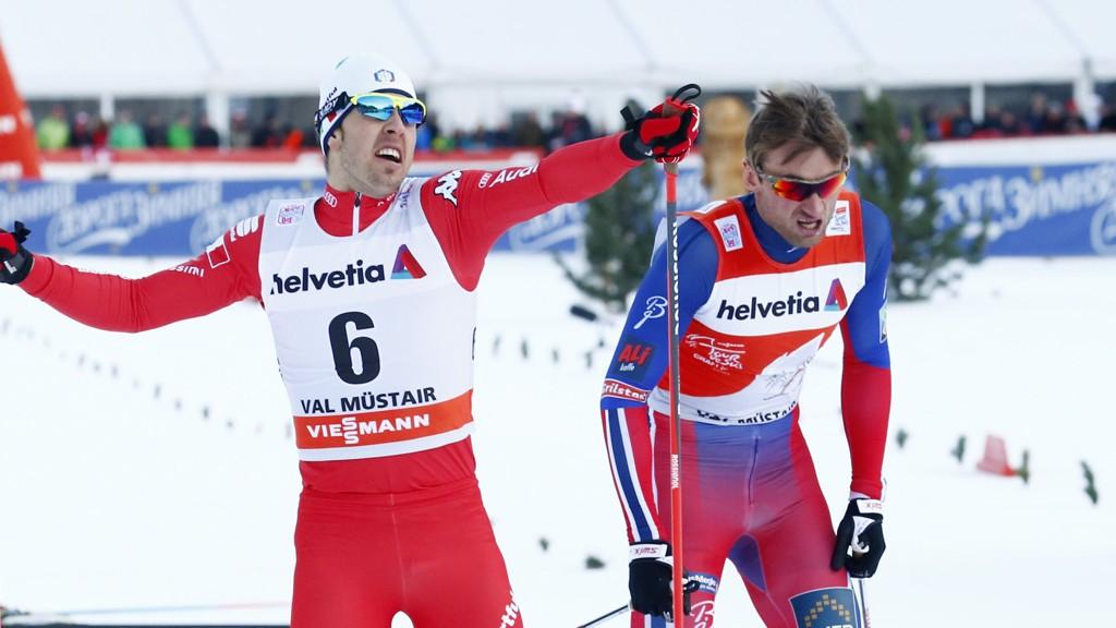 BLE SLÅTT: Fredrico Pellegrino (t.v.) fra Italia snøt Petter Northug for seieren på trønderens 29-årsdag.