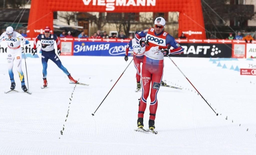VANT: Petter Northug gikk inn til seier i Toblach.