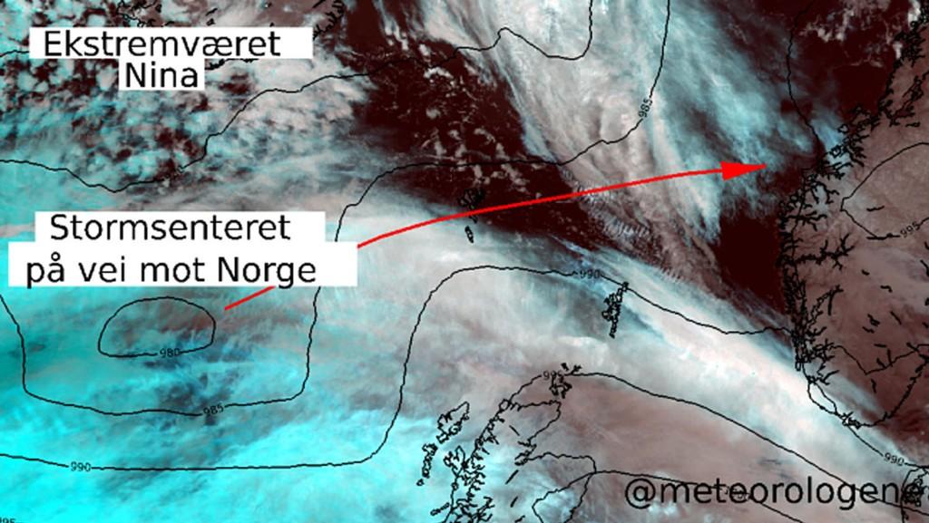 Uværet «Nina» er ventet å treffe kysten på Vestlandet lørdag ettermiddag.