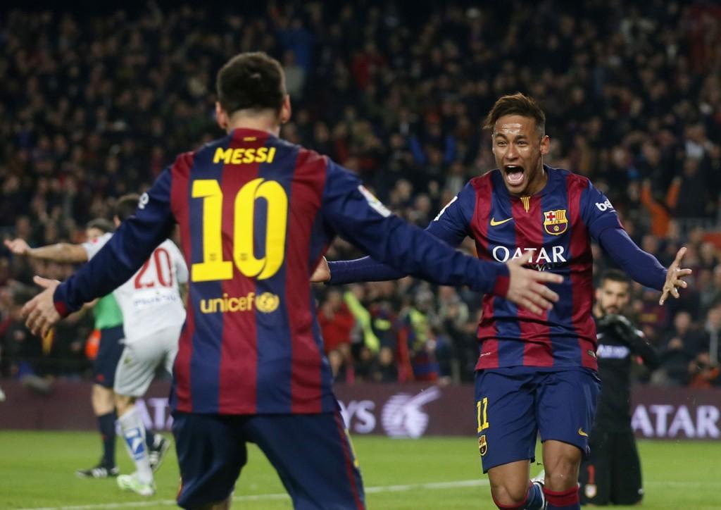 KOSTE SEG: Lionel Messi og Neymar lekte seg tidvis mot Atletico Madrid.