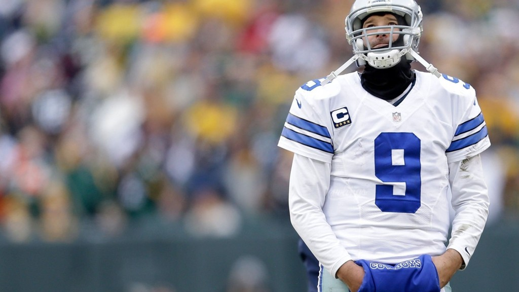 Green Bay Packers vendte til seier 26-21 over Dallas Cowboys og er klar for semifinale i NFL-sluttspillet, med litt hjelp fra dommerne. Her er Dallas-quarterback Tony Romo avbildet.