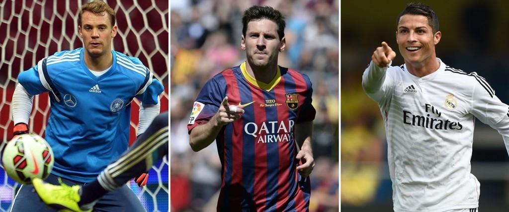 Manuel Neuer er på jakt etter Gullballen mandag. Han må danke ut Cristiano Ronaldo og Lionel Messi. Ingen lett oppgave.