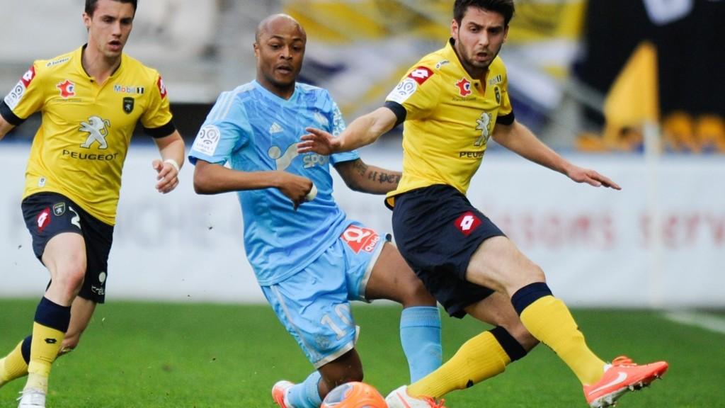 Sochaux-spillere avbildet under en kamp mot Marseille forrige sesong.