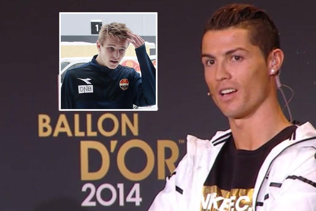 ET HETT TEMA: Under pressemøtet før mandagens Ballon d'Or-galla i Zürich ble Cristiano Ronaldo spurt om Martin Ødegaard.