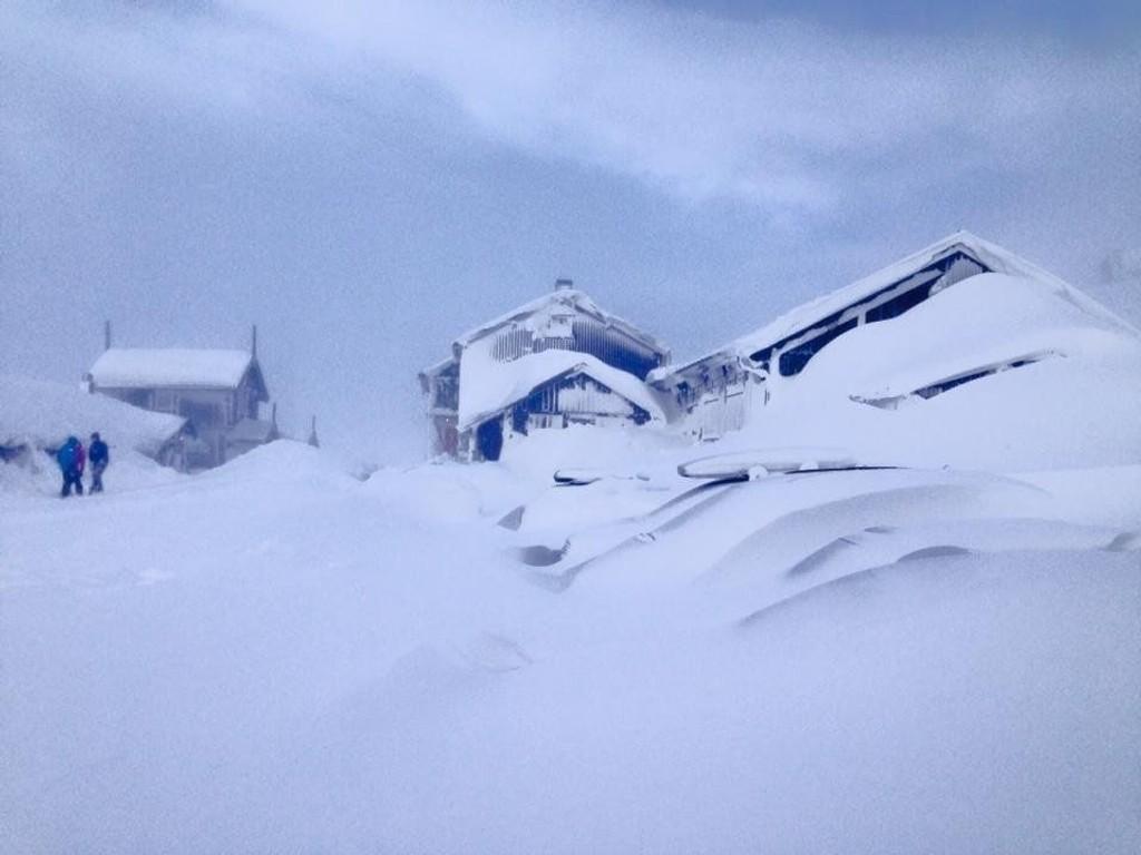 Slik så det ut på Haukeliseter fjellstue på mandag.