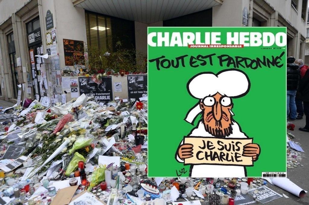 Denne ukens opplag av satiremagasinet Charlie Hebdo kommer ut i hele tre millioner eksemplarer. Det er 50 ganger flere enn det vanlige opplaget på 60.000. Bladet blir i tillegg oversatt til 16 forskjellige språk. På bildet ses forsiden på utgaven som kommer ut onsdag (innfeldt) og inngangspartiet til magasinets lokaler der massakren fant sted forrige uke.