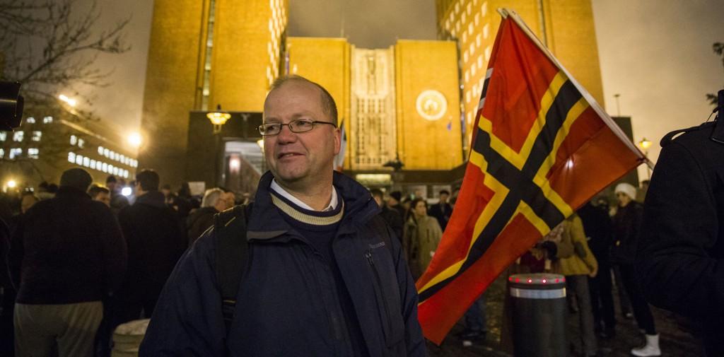 INITIATIVTAKER: Islamkritiske Pegida, med Max Hermansen som initiativtaker, marsjerte for første gang i Norge mandag.