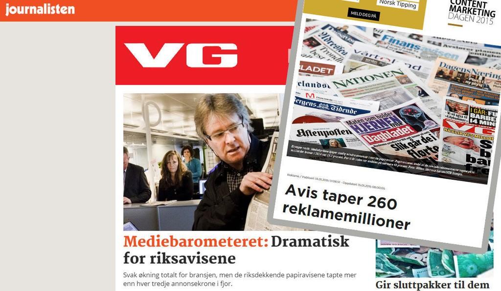 Oppslag i Journalisten og Kampanje viser at 2914 ble et svart år for VG og de andre riksavisene på papir.