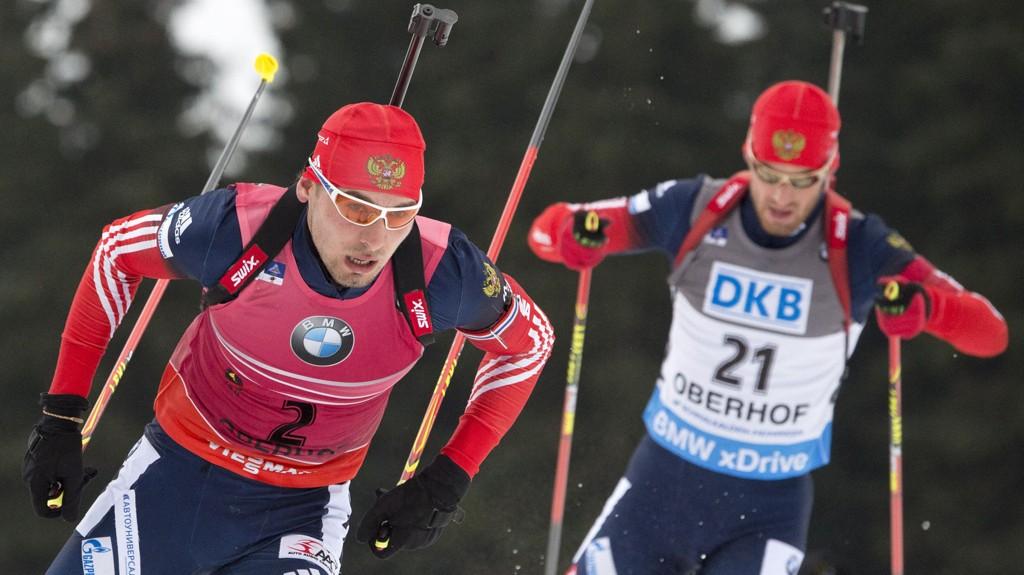 Anton Shipulin går sisteetappen for Russland på torsdagens stafett i Ruhpolding.