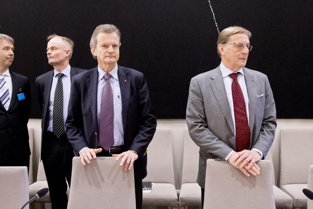 Konsernsjef Jon Fredrik Baksaas og styreleder Svein Aaser i Telenor møtte i kontroll- og konstitusjonskomiteens åpne høring om Vimpelcom-saken i Stortinget i Oslo onsdag.