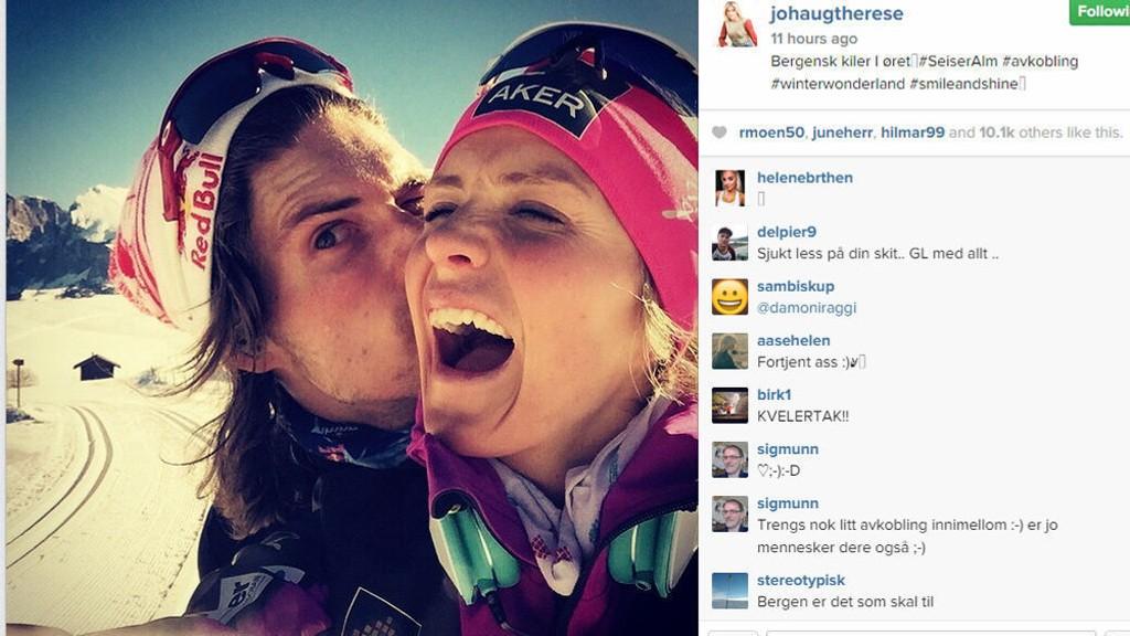 FUNNET KJÆRLIGHETEN: Therese Johaug viser frem kjæresten Nils Jacob Hoff på Instagram.