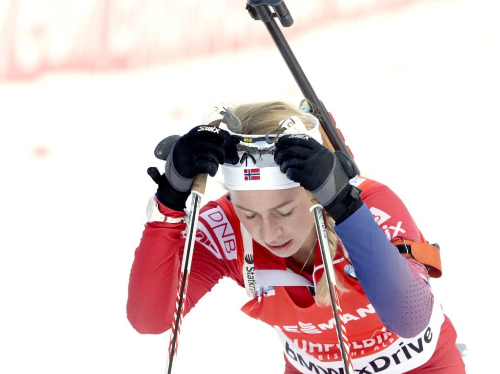 LABER PLASSERING: Tiril Eckhoff ble beste norske på 22.-plass på skiskytterjentenes fellesstart søndag. Foto: Vidar Ruud / NTB scanpix